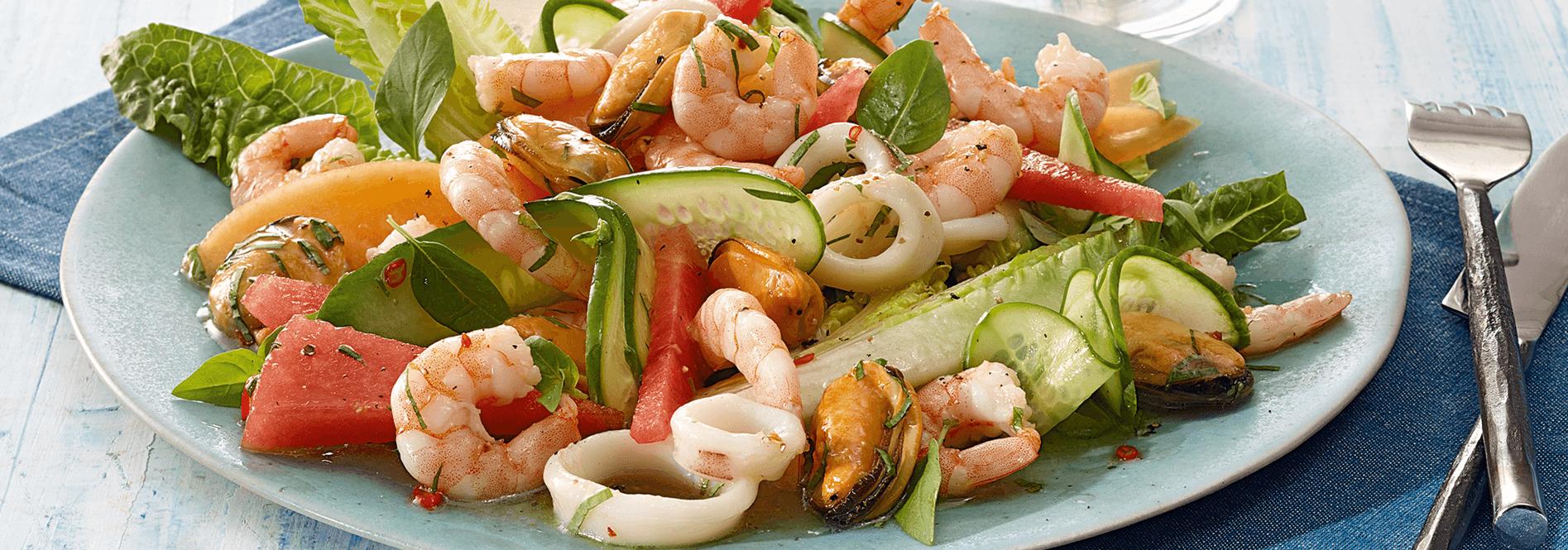 Frutti di Mare mit Gurken-Melonen-Salat